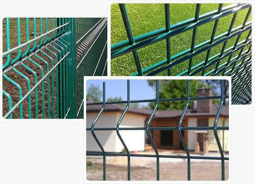 Two detailed picture of double wire fence and 3D fence panels.