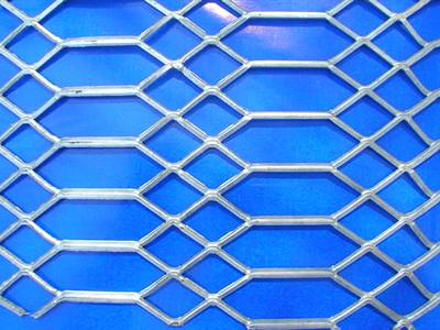 A detailed drawing of galvanized expanded metal with diamond and hexagon openings.