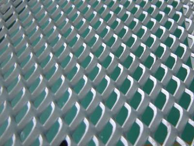 A sheet of galvanized expanded metal