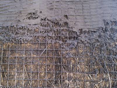 A flat welded wire lath is used on the surface of wall with stucco covered it.
