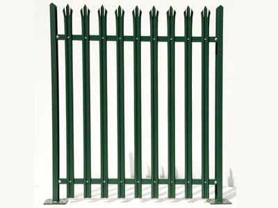 9 W-section with triple point head pales combine with 2 posts and 2 rails and form a green PVC coated palisade fencing panel.