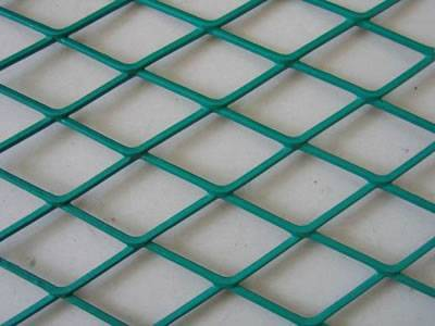 A detailed drawing of green PVC coated expanded metal.